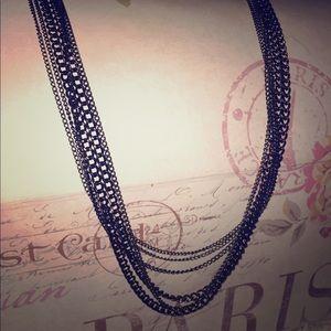 Black Gunmetal Chain Necklace Long